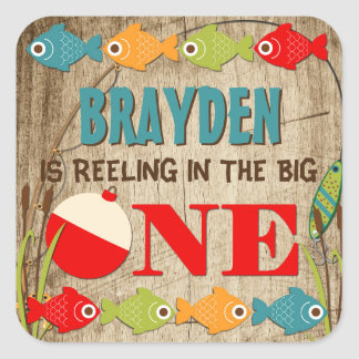 The Big One Fishing Theme Boys First Birthday Square Sticker
