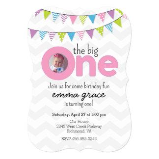 The Big One Girls First Birthday Invitation