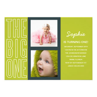 THE BIG ONE IN GREEN  | FIRST BIRTHDAY INVITATION