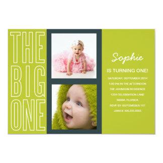 "THE BIG ONE IN GREEN  | FIRST BIRTHDAY INVITATION 5"" X 7"" INVITATION CARD"
