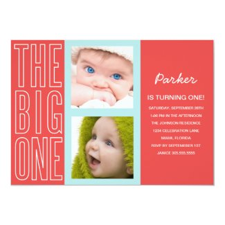 "THE BIG ONE IN RED | FIRST BIRTHDAY INVITATION 5"" X 7"" INVITATION CARD"