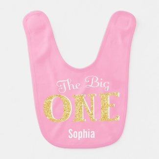 The Big One Pink Gold 1st Birthday Personalized Bib