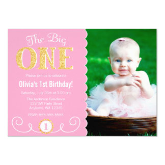 The Big One Pink Gold 1st Birthday Photo Card