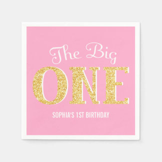 The Big One Pink Gold Faux Glitter 1st Birthday Paper Napkin