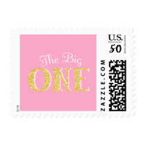 The Big One Pink Gold Faux Glitter 1st Birthday Postage