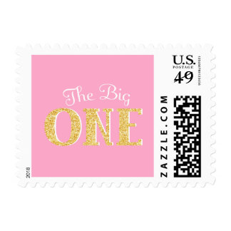The Big One Pink Gold Faux Glitter 1st Birthday Stamp
