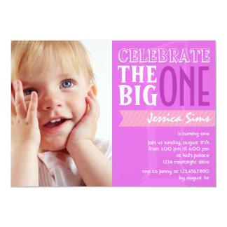 "The Big One - Purple Birthday Invitation 5"" X 7"" Invitation Card"