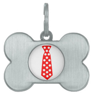 The Big Red and White Polka Dot Tie. Fun Pop Art. Pet Name Tag