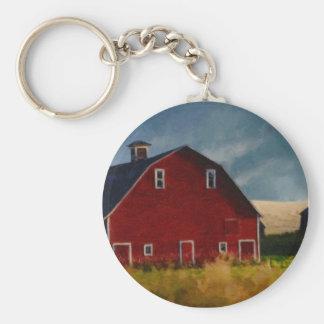 The Big Red Barn Basic Round Button Keychain