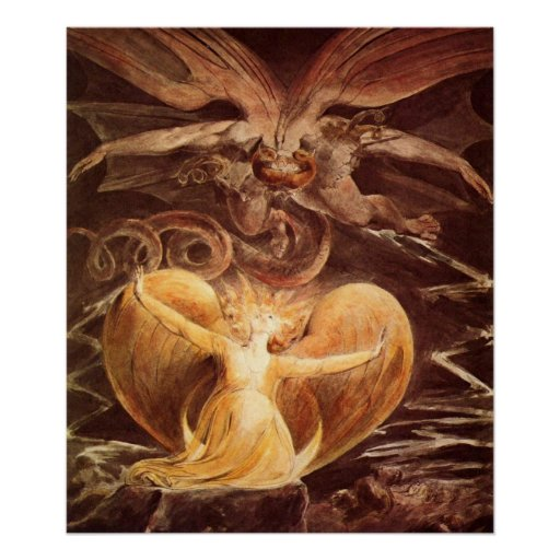 The big red dragon and the woman by William Blake Poster