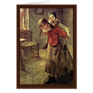 The Big Sister By Fritz Von Uhde Greeting Cards