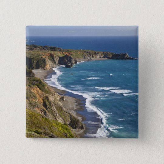 The Big Sur coastline in California, USA Button