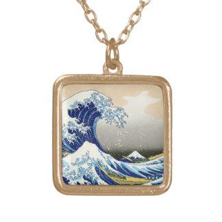 The big wave off Kanagawa Katsushika Hokusai Gold Plated Necklace