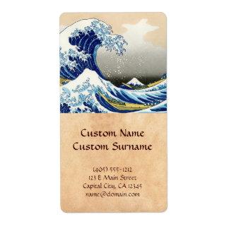 The big wave off Kanagawa Katsushika Hokusai Label