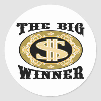 The Big Winner T-shirts and Gifts. Classic Round Sticker