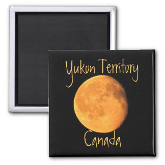The Big Yellow Moon; Yukon Territory, Canada 2 Inch Square Magnet