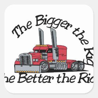 The Bigger the Rig Square Sticker