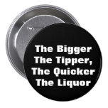 The BiggerThe Tipper,The QuickerThe Liquor Pinback Button