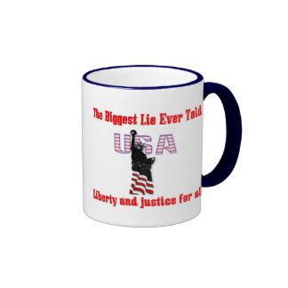 The biggest lie ever told ringer coffee mug