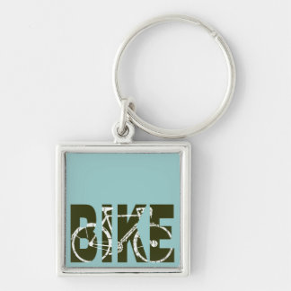 the bike. cycle . cycling Silver-Colored square keychain