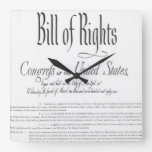 The Bill of Rights Square Wall Clock