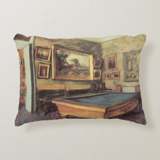 The Billiard Room at Menil Hubert by Edgar Degas Accent Pillow