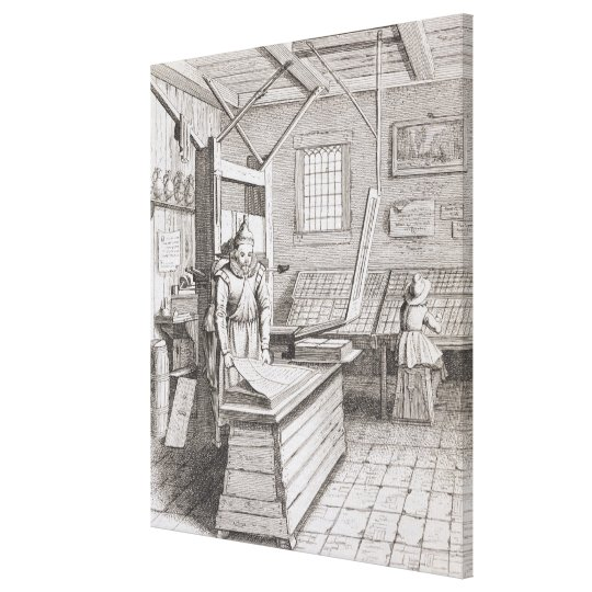 The bindery of Laurens Janszoon Koster, engraved b Canvas Print