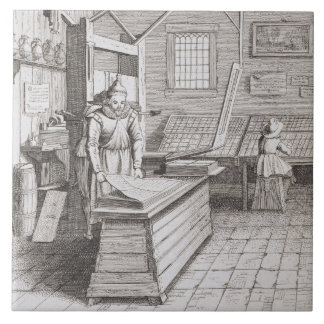 The bindery of Laurens Janszoon Koster, engraved b Ceramic Tile
