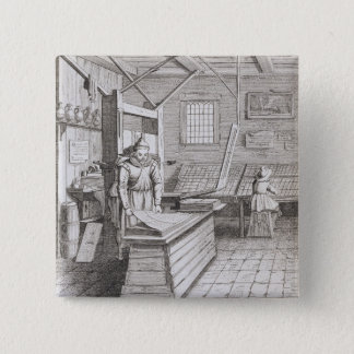 The bindery of Laurens Janszoon Koster, engraved b Pinback Button
