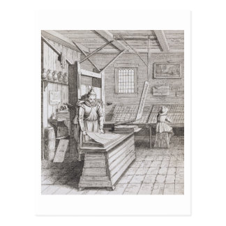 The bindery of Laurens Janszoon Koster, engraved b Postcard