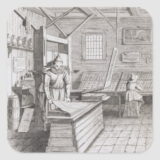 The bindery of Laurens Janszoon Koster, engraved b Square Sticker