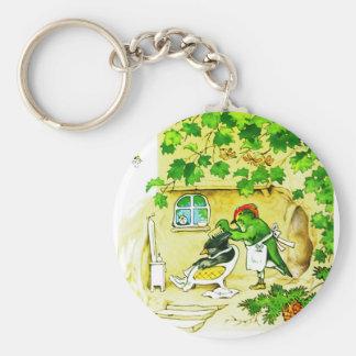 The Bird Barber Basic Round Button Keychain