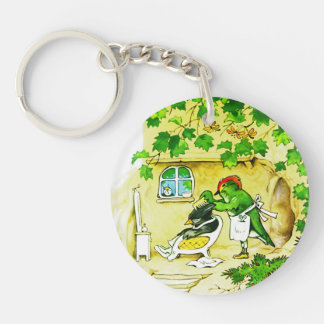 The Bird Barber Double-Sided Round Acrylic Keychain