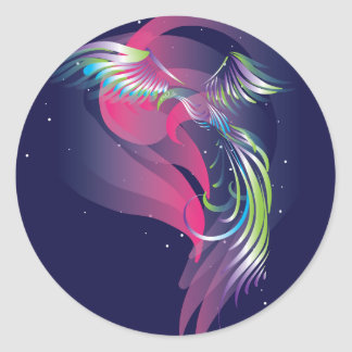 The bird. Northern lights. Classic Round Sticker