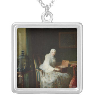 The Bird Organ or A Woman Varying Her Silver Plated Necklace
