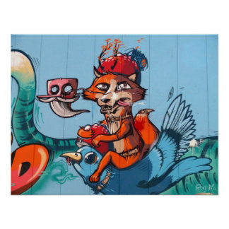 """The bird riding Fox"" Graffiti art Poster"