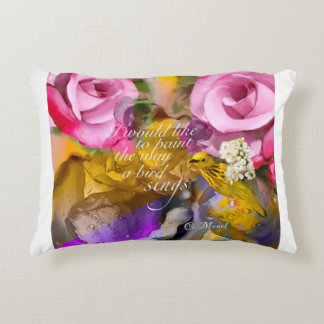 The bird sings among flowers. accent pillow