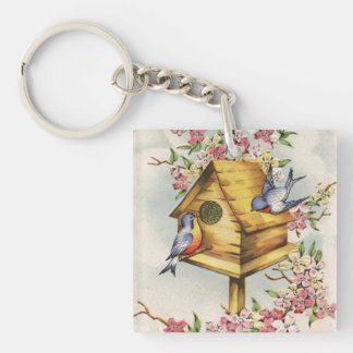 The Birdhouse Double-Sided Square Acrylic Keychain