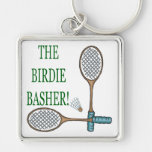 The Birdie Basher 2 Silver-Colored Square Keychain