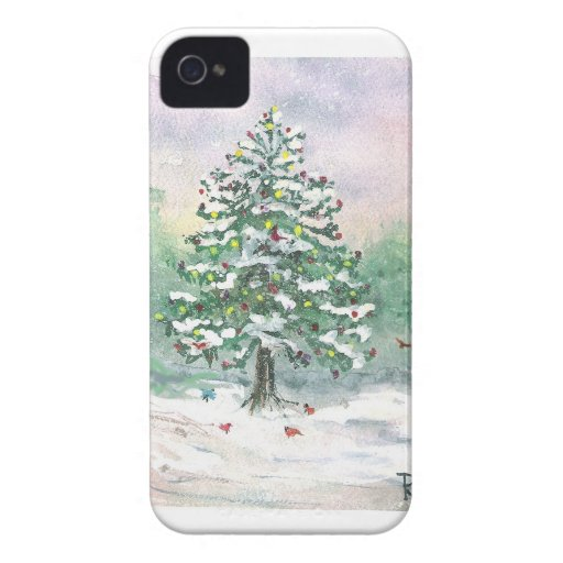 The Birds' Christmas Tree - Watercolor Case-Mate iPhone 4 Case