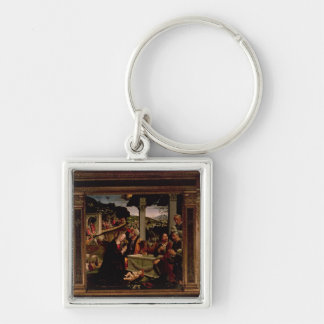 The Birth of Christ Silver-Colored Square Keychain