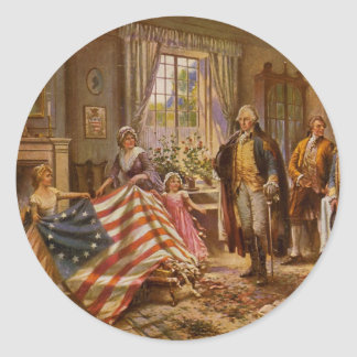 The Birth of Old Glory by Percy Moran Classic Round Sticker