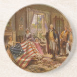 "The Birth of Old Glory by Percy Moran Coaster<br><div class=""desc"">This image from c 1917 depicts what is presumed to be Betsy Ross and two children presenting the &quot;Betsy Ross flag&quot; to George Washington and three other men. The image is a version of a painting entitled &quot;The Birth of Old Glory&quot; by Percy Moran, from the Library of Congress Sign...</div>"