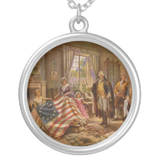 The Birth of Old Glory by Percy Moran Silver Plated Necklace