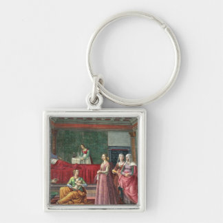 The Birth of St. John the Baptist (fresco) (see al Silver-Colored Square Keychain