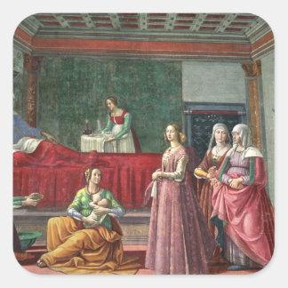 The Birth of St. John the Baptist (fresco) (see al Square Sticker