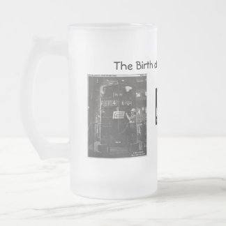 The Birth of The Penn Central Railroad Frosted Glass Beer Mug