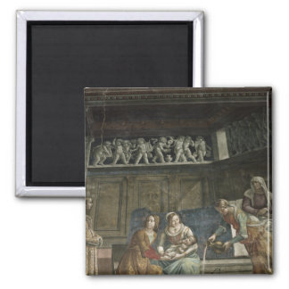 The Birth of the Virgin, 1485-90 2 Inch Square Magnet