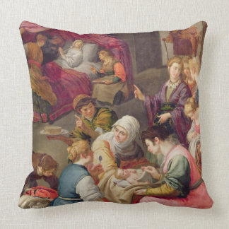 The Birth of the Virgin, 1640 (oil on canvas) Throw Pillow