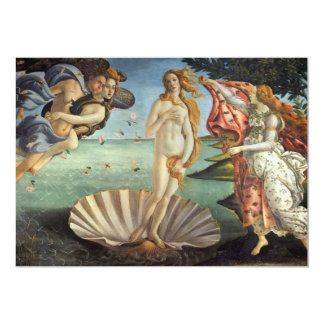 "The Birth of Venus by Botticelli, Renaissance Art 5"" X 7"" Invitation Card"